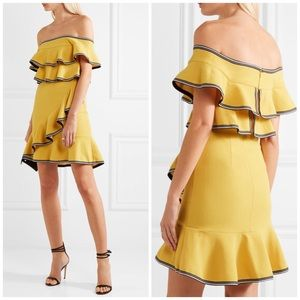 Rebecca Vallance Yellow Ruffle Flounce Dress